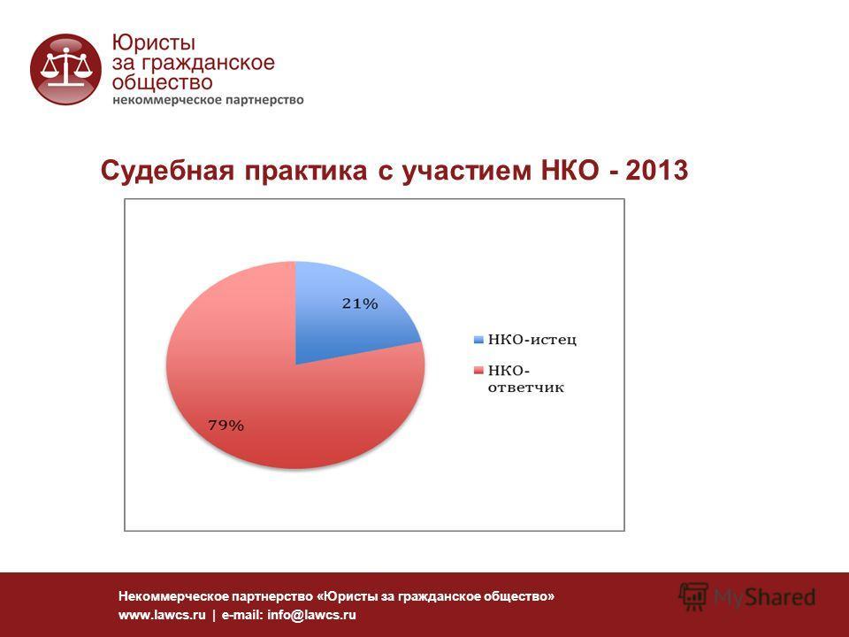 Судебная практика с участием НКО - 2013 Некоммерческое партнерство «Юристы за гражданское общество» www.lawcs.ru | e-mail: info@lawcs.ru