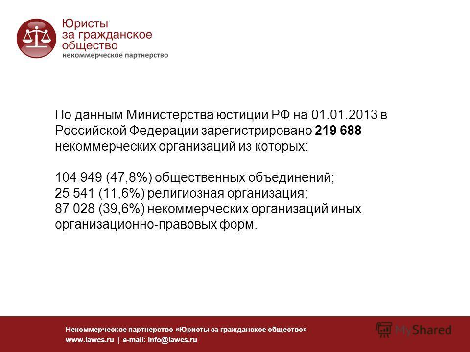 По данным Министерства юстиции РФ на 01.01.2013 в Российской Федерации зарегистрировано 219 688 некоммерческих организаций из которых: 104 949 (47,8%) общественных объединений; 25 541 (11,6%) религиозная организация; 87 028 (39,6%) некоммерческих орг