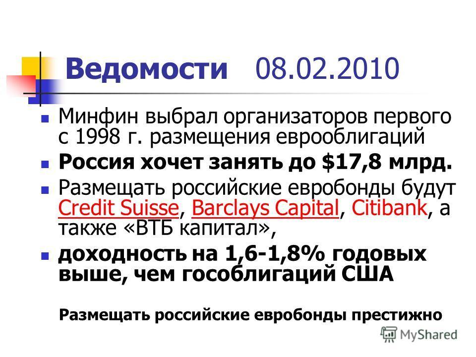 Ведомости08.02.2010 Минфин выбрал организаторов первого с 1998 г. размещения еврооблигаций Россия хочет занять до $17,8 млрд. Размещать российские евробонды будут Credit Suisse, Barclays Capital, Citibank, а также «ВТБ капитал», Credit SuisseBarclays
