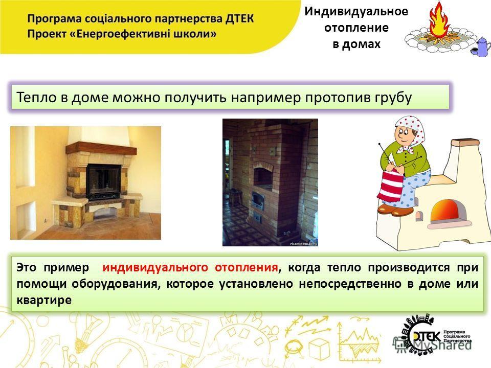 Индивидуальное отопление в домах Тепло в доме можно получить например протопив грубу Это пример индивидуального отопления, когда тепло производится при помощи оборудования, которое установлено непосредственно в доме или квартире