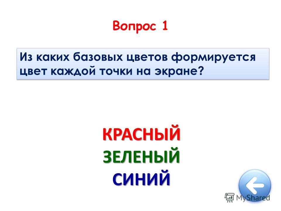 Вопрос 1 Из каких базовых цветов формируется цвет каждой точки на экране? КРАСНЫЙЗЕЛЕНЫЙСИНИЙ