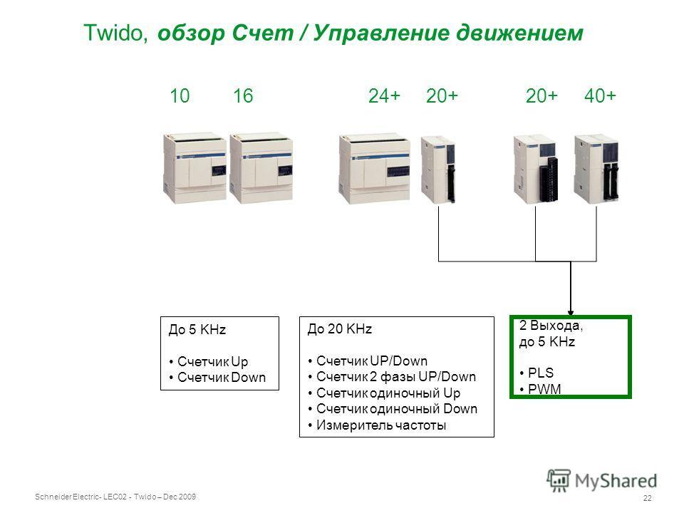 Schneider Electric 22 - LEC02 - Twido – Dec 2009 Twido, обзор Счет / Управление движением До 20 KHz Счетчик UP/Down Счетчик 2 фазы UP/Down Счетчик одиночный Up Счетчик одиночный Down Измеритель частоты До 5 KHz Счетчик Up Счетчик Down 2 Выхода, до 5