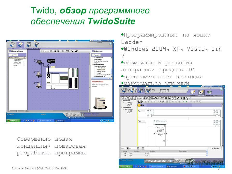 Schneider Electric 23 - LEC02 - Twido – Dec 2009 Совершенно новая концепция: пошаговая разработка программы Программирование на языке Ladder Windows 2009, XP, Vista, Win 7 возможности развития аппаратных средств ПК эргономическая эволюция максимально