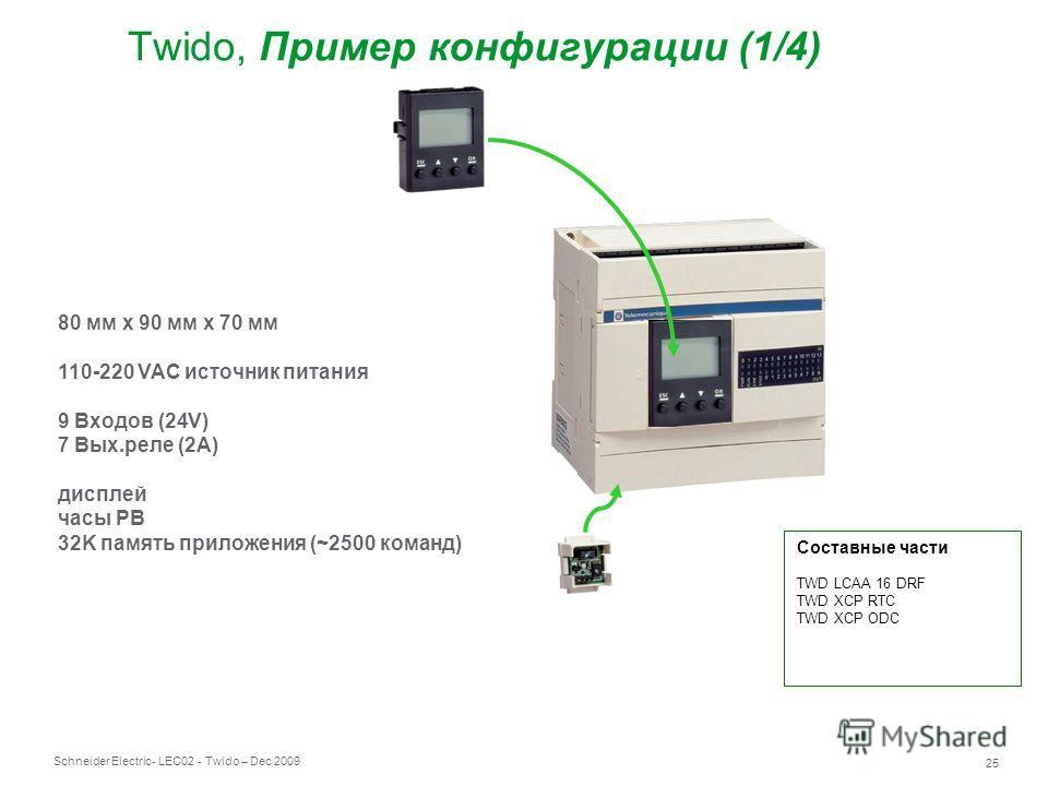 Schneider Electric 25 - LEC02 - Twido – Dec 2009 Twido, Пример конфигурации (1/4) 80 мм x 90 мм x 70 мм 110-220 VAC источник питания 9 Входов (24V) 7 Вых.реле (2A) дисплей часы РВ 32K память приложения (~2500 команд) Составные части TWD LCAA 16 DRF T