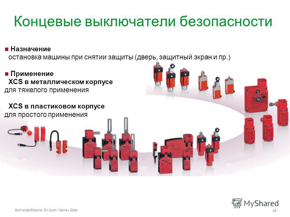 Schneider Electric 25 - Division - Name – Date Концевые выключатели безопасности Назначение остановка машины при снятии защиты (дверь, защитный экран и пр.) Применение XCS в металлическом корпусе для тяжелого применения XCS в пластиковом корпусе для