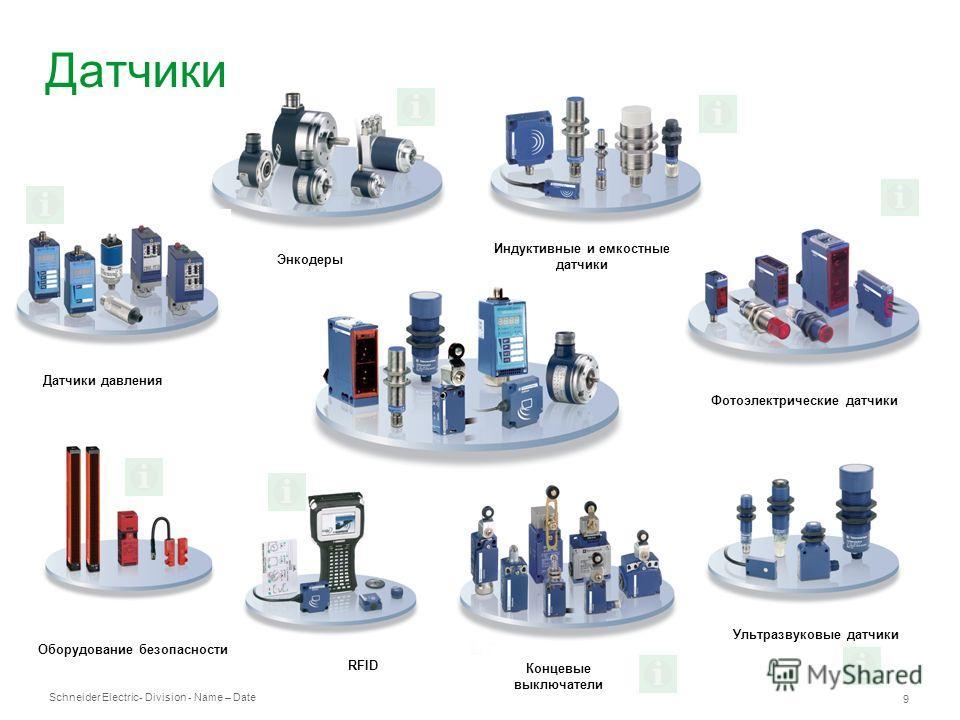 Schneider Electric 9 - Division - Name – Date Датчики Датчики давления Ультразвуковые датчики Энкодеры Индуктивные и емкостные датчики Фотоэлектрические датчики RFID Оборудование безопасности Концевые выключатели