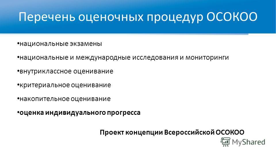 Перечень оценочных процедур ОСОКОО национальные экзамены национальные и международные исследования и мониторинги внутриклассное оценивание критериальное оценивание накопительное оценивание оценка индивидуального прогресса Проект концепции Всероссийск