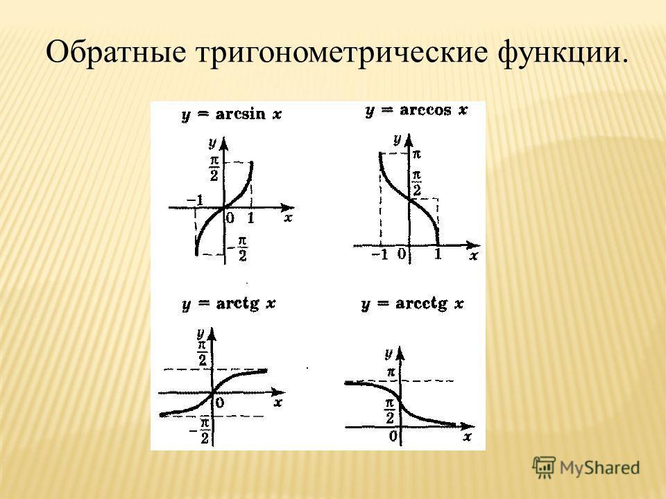 Обратные тригонометрические функции.