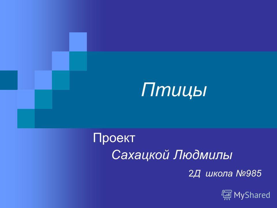 Птицы Проект Сахацкой Людмилы 2Д школа 985