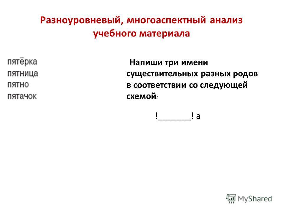 Напиши три имени существительных разных родов в соответствии со следующей схемой : !_______! а