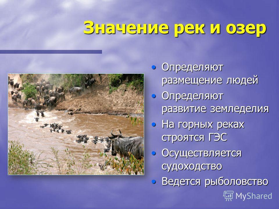 Значение рек и озер Определяют размещение людей Определяют развитие земледелия На горных реках строятся ГЭС Осуществляется судоходство Ведется рыболовство