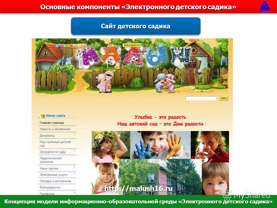 Основные компоненты «Электронного детского садика» Cайт детского садика http://malush16.ru Концепция модели информационно-образовательной среды «Электронного детского садика»