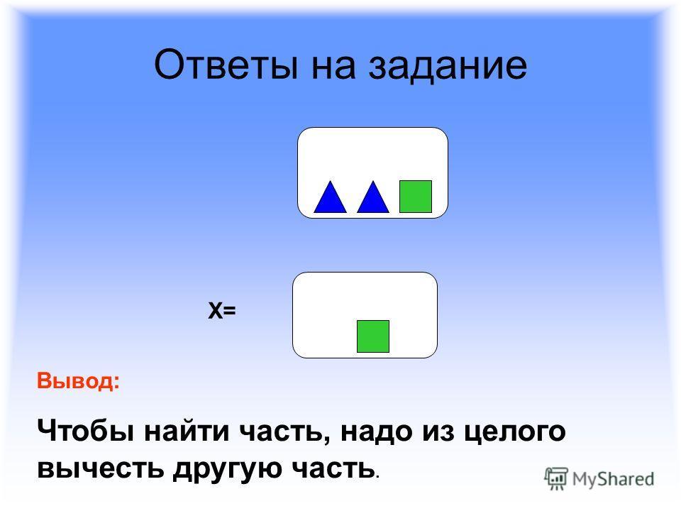 Ответы на задание Х= Вывод: Чтобы найти часть, надо из целого вычесть другую часть.