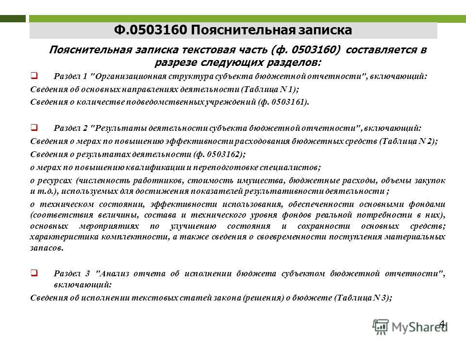 4 Ф.0503160 Пояснительная записка Пояснительная записка текстовая часть (ф. 0503160) составляется в разрезе следующих разделов: Раздел 1
