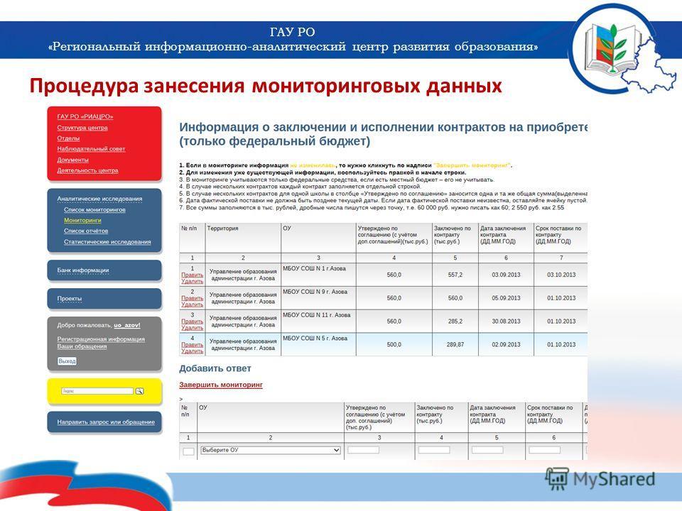 ГАУ РО «Региональный информационно-аналитический центр развития образования» Процедура занесения мониторинговых данных