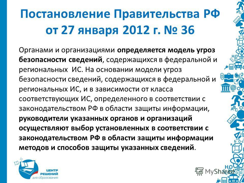 Постановление Правительства РФ от 27 января 2012 г. 36 Органами и организациями определяется модель угроз безопасности сведений, содержащихся в федеральной и региональных ИС. На основании модели угроз безопасности сведений, содержащихся в федеральной