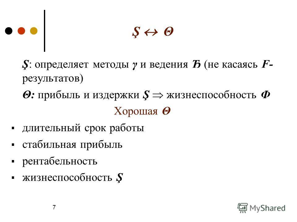 Ş Θ Ş: определяет методы γ и ведения Ђ (не касаясь F- результатов) Θ: прибыль и издержки Ş жизнеспособность Ф Хорошая Θ длительный срок работы стабильная прибыль рентабельность жизнеспособность Ş 7