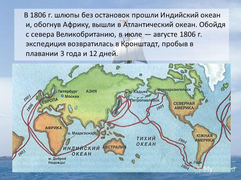В 1806 г. шлюпы без остановок прошли Индийский океан и, обогнув Африку, вышли в Атлантический океан. Обойдя с севера Великобританию, в июле августе 1806 г. экспедиция возвратилась в Кронштадт, пробыв в плавании 3 года и 12 дней.