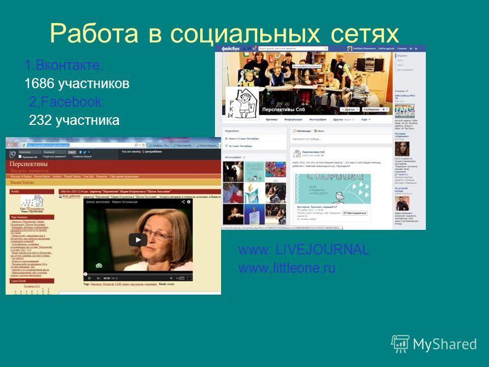 Работа в социальных сетях 1.Вконтакте: 1686 участников 2,Facebook: 232 участника www. LIVEJOURNAL www.littleone.ru