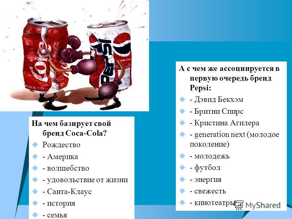 На чем базирует свой бренд Coca-Cola? Рождество - Америка - волшебство - удовольствие от жизни - Санта-Клаус - история - семья А с чем же ассоциируется в первую очередь бренд Pepsi: - Дэвид Бекхэм - Бритни Спирс - Кристина Агилера - generation next (