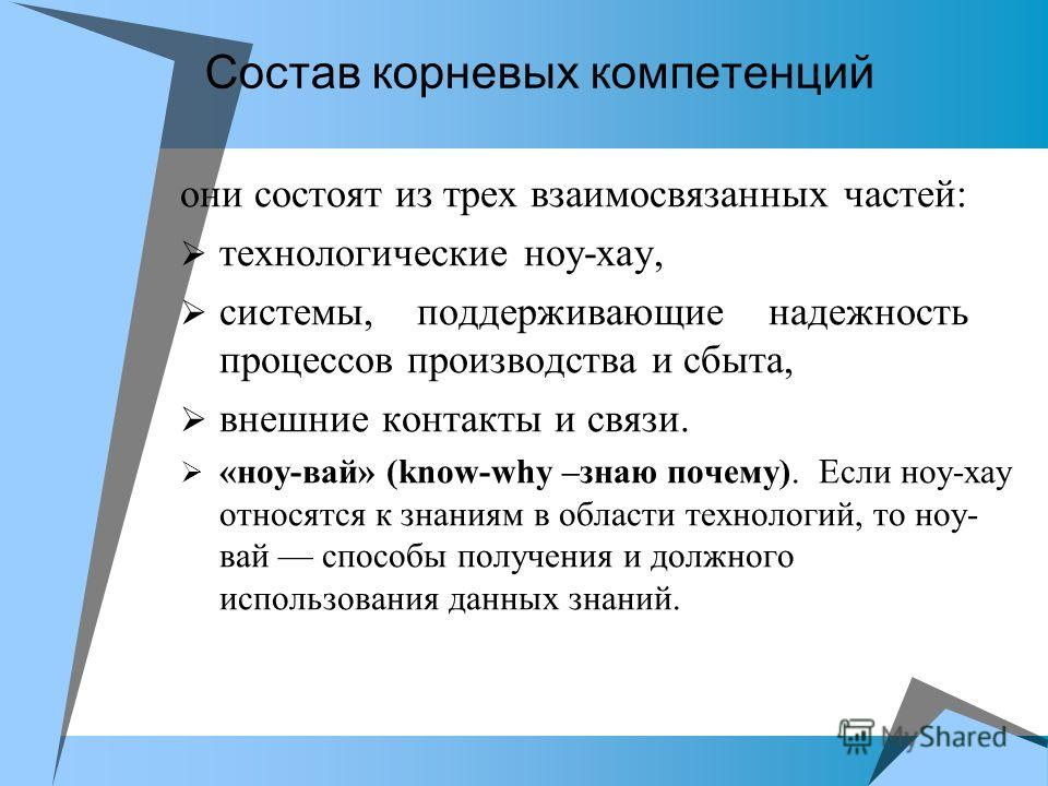 Состав корневых компетенций они состоят из трех взаимосвязанных частей: технологические ноу-хау, системы, поддерживающие надежность процессов производства и сбыта, внешние контакты и связи. «ноу-вай» (know-why –знаю почему). Если ноу-хау относятся к