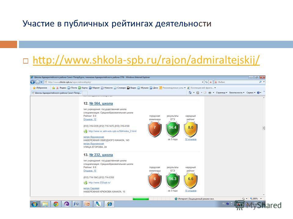 Участие в публичных рейтингах деятельности http://www.shkola-spb.ru/rajon/admiraltejskij/ http://www.shkola-spb.ru/rajon/admiraltejskij/
