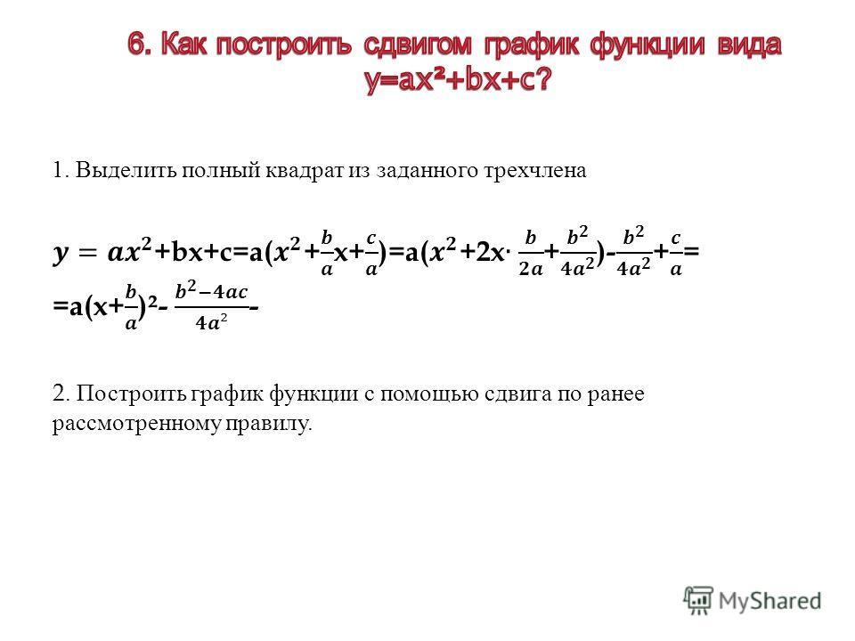 1. Выделить полный квадрат из заданного трехчлена 2. Построить график функции с помощью сдвига по ранее рассмотренному правилу.