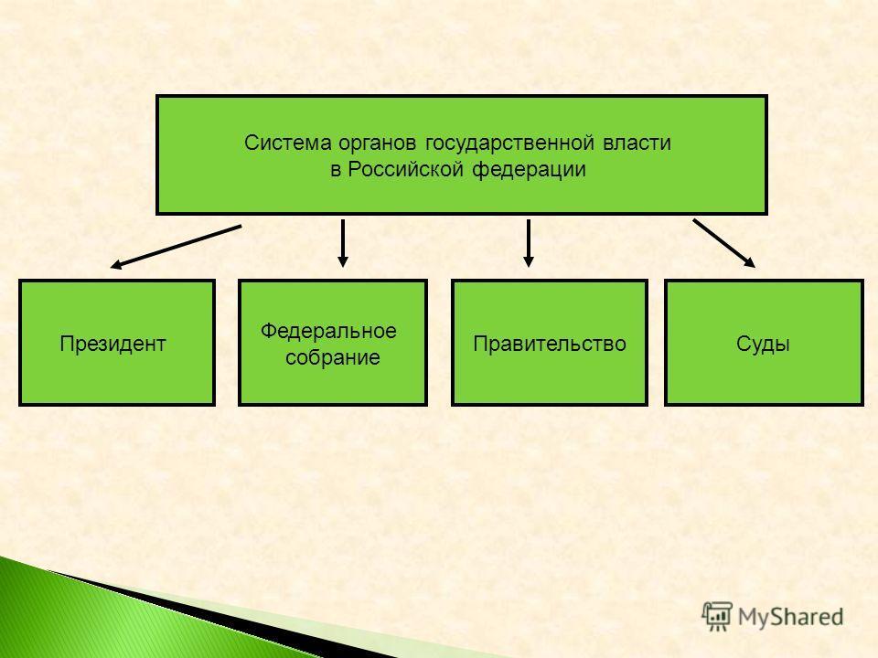 Система органов государственной власти в Российской федерации Президент Федеральное собрание ПравительствоСуды