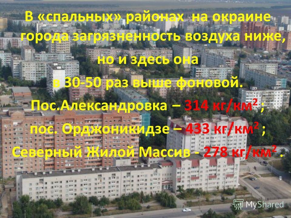 В «спальных» районах на окраине города загрязненность воздуха ниже, но и здесь она в 30-50 раз выше фоновой. Пос.Александровка – 314 кг/км 2 ; пос. Орджоникидзе – 433 кг/км 2 ; Северный Жилой Массив - 278 кг/км 2.