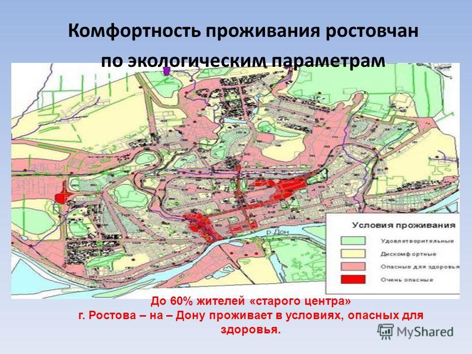 Комфортность проживания ростовчан по экологическим параметрам До 60% жителей «старого центра» г. Ростова – на – Дону проживает в условиях, опасных для здоровья.