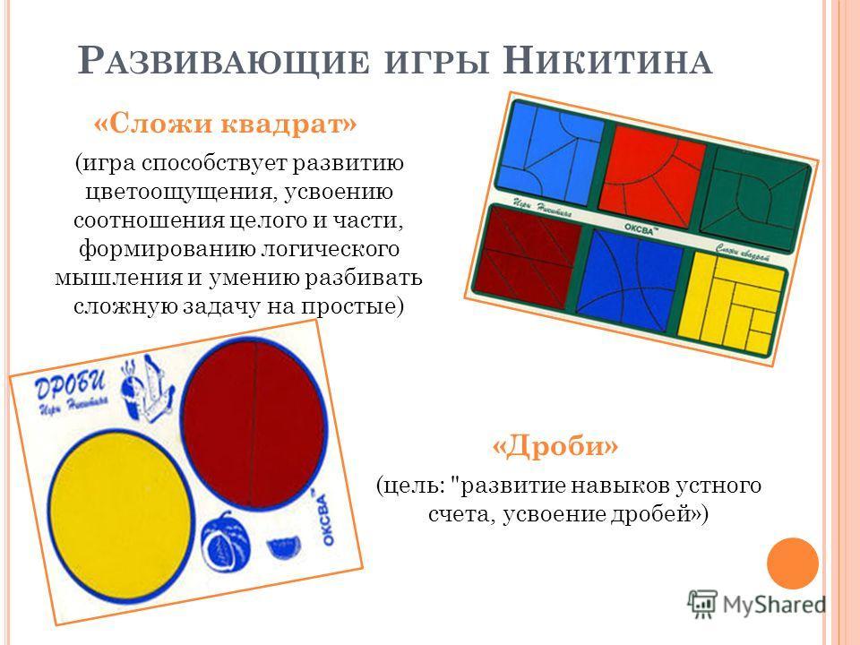 Р АЗВИВАЮЩИЕ ИГРЫ Н ИКИТИНА «Сложи квадрат» (игра способствует развитию цветоощущения, усвоению соотношения целого и части, формированию логического мышления и умению разбивать сложную задачу на простые) «Дроби» (цель: