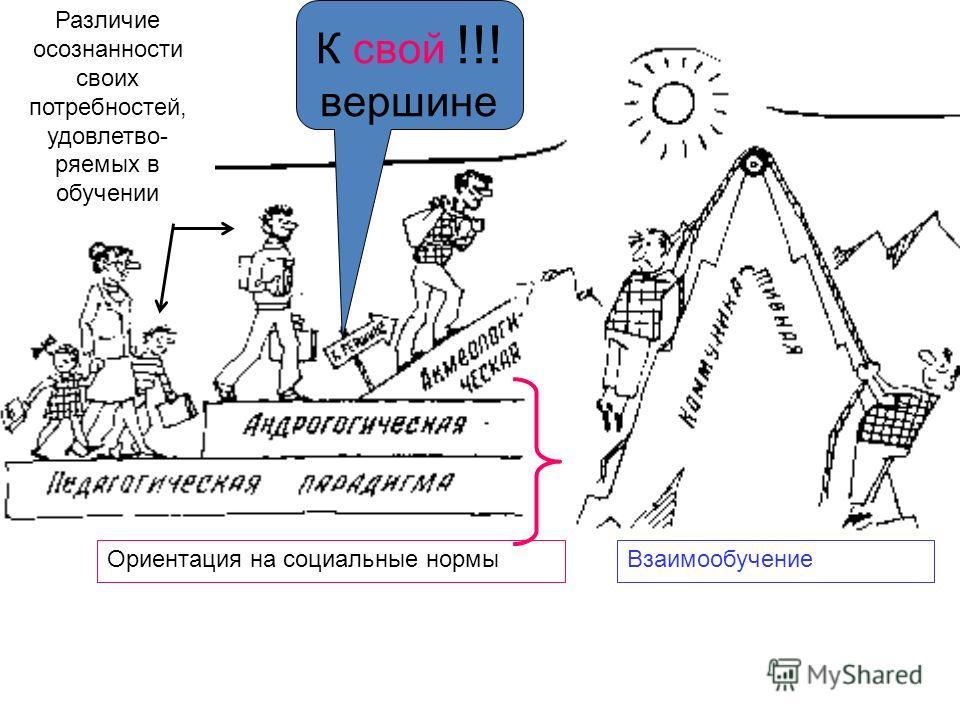 К свой !!! вершине Ориентация на социальные нормыВзаимообучение Различие осознанности своих потребностей, удовлетво- ряемых в обучении