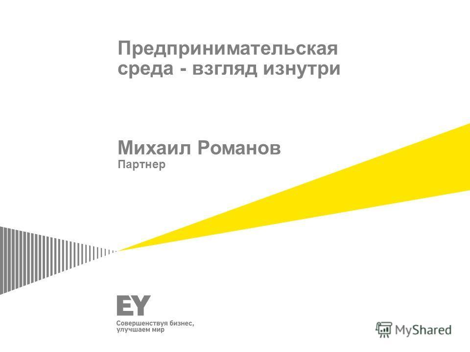 Предпринимательская среда - взгляд изнутри Михаил Романов Партнер