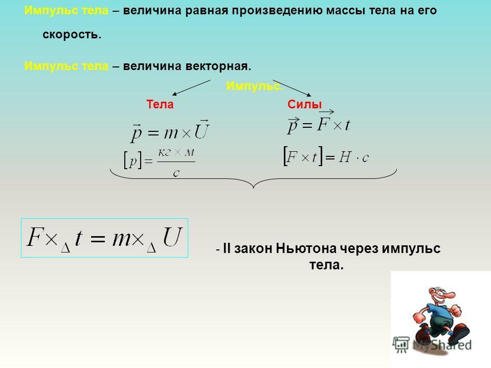 Импульс тела – величина равная произведению массы тела на его скорость. Импульс тела – величина векторная. Импульс. Тела Силы - II закон Ньютона через импульс тела.