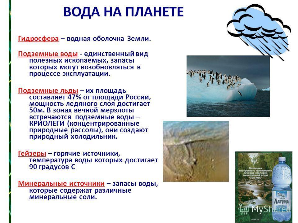 ВОДА НА ПЛАНЕТЕ Гидросфера – водная оболочка Земли. Подземные воды - единственный вид полезных ископаемых, запасы которых могут возобновляться в процессе эксплуатации. Подземные льды – их площадь составляет 47% от площади России, мощность ледяного сл
