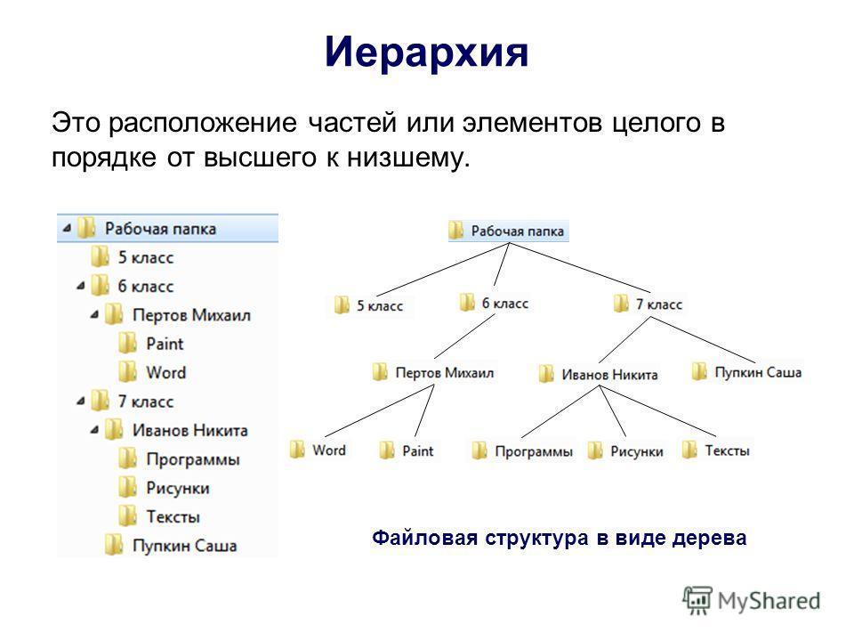 Иерархия Это расположение частей или элементов целого в порядке от высшего к низшему. Файловая структура в виде дерева