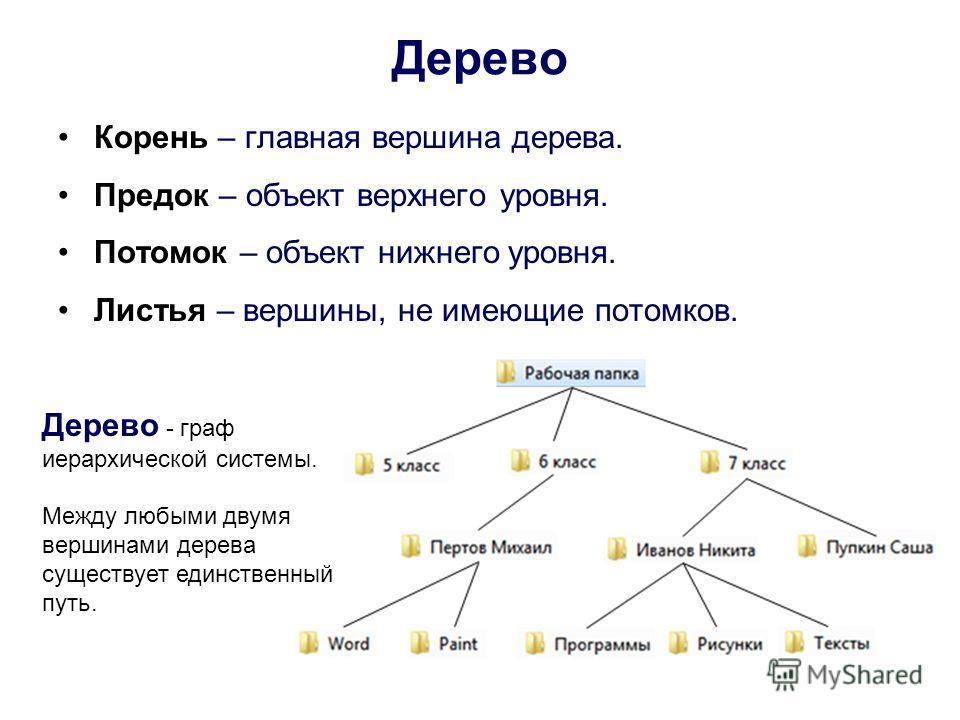 Дерево Корень – главная вершина дерева. Предок – объект верхнего уровня. Потомок – объект нижнего уровня. Листья – вершины, не имеющие потомков. Дерево - граф иерархической системы. Между любыми двумя вершинами дерева существует единственный путь.