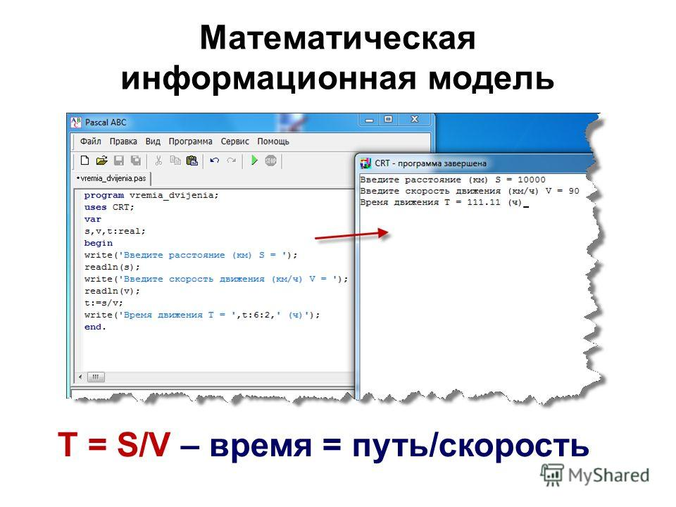 Математическая информационная модель T = S/V – время = путь/скорость