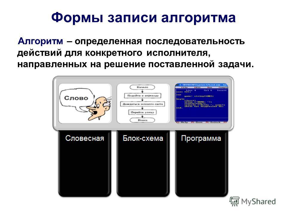 Формы записи алгоритма Алгоритм – определенная последовательность действий для конкретного исполнителя, направленных на решение поставленной задачи.