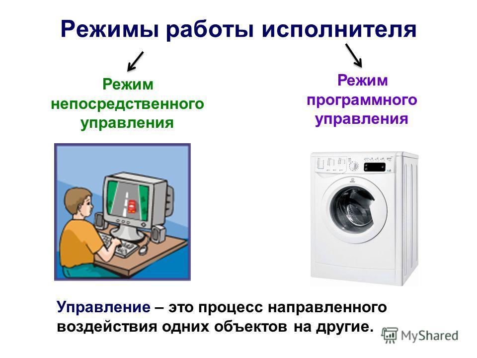 Режимы работы исполнителя Режим непосредственного управления Режим программного управления Управление – это процесс направленного воздействия одних объектов на другие.