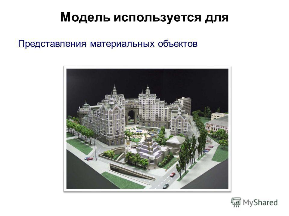 Модель используется для Представления материальных объектов