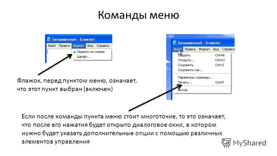 Команды меню Флажок, перед пунктом меню, означает, что этот пункт выбран (включен) Если после команды пункта меню стоит многоточие, то это означает, что после его нажатия будет открыто диалоговое окно, в котором нужно будет указать дополнительные опц