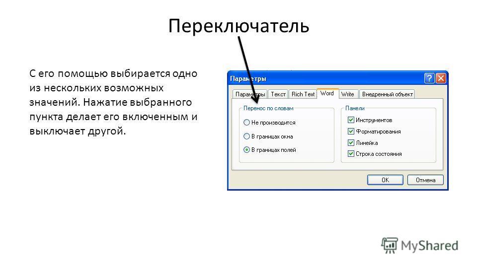 Переключатель С его помощью выбирается одно из нескольких возможных значений. Нажатие выбранного пункта делает его включенным и выключает другой.