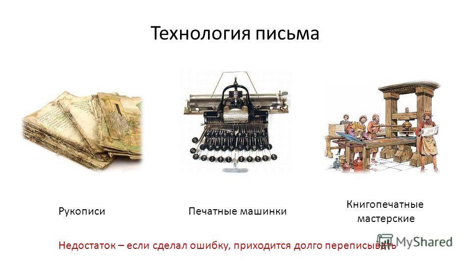 Технология письма Рукописи Печатные машинки Книгопечатные мастерские Недостаток – если сделал ошибку, приходится долго переписывать