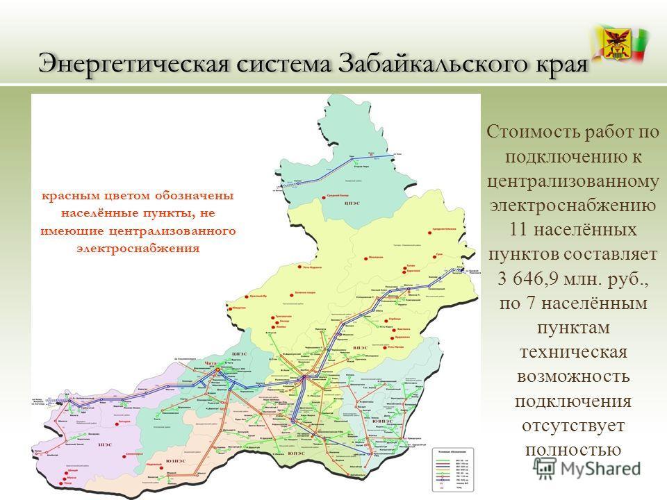 Энергетическая система Забайкальского края красным цветом обозначены населённые пункты, не имеющие централизованного электроснабжения Стоимость работ по подключению к централизованному электроснабжению 11 населённых пунктов составляет 3 646,9 млн. ру