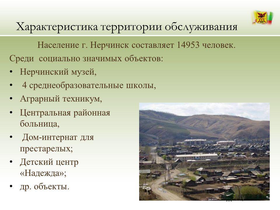 Характеристика территории обслуживания Население г. Нерчинск составляет 14953 человек. Среди социально значимых объектов: Нерчинский музей, 4 среднеобразовательные школы, Аграрный техникум, Центральная районная больница, Дом-интернат для престарелых;