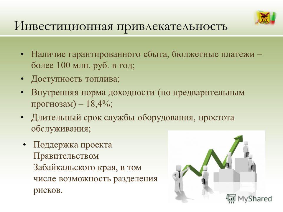 Инвестиционная привлекательность Наличие гарантированного сбыта, бюджетные платежи – более 100 млн. руб. в год; Доступность топлива; Внутренняя норма доходности (по предварительным прогнозам) – 18,4%; Длительный срок службы оборудования, простота обс