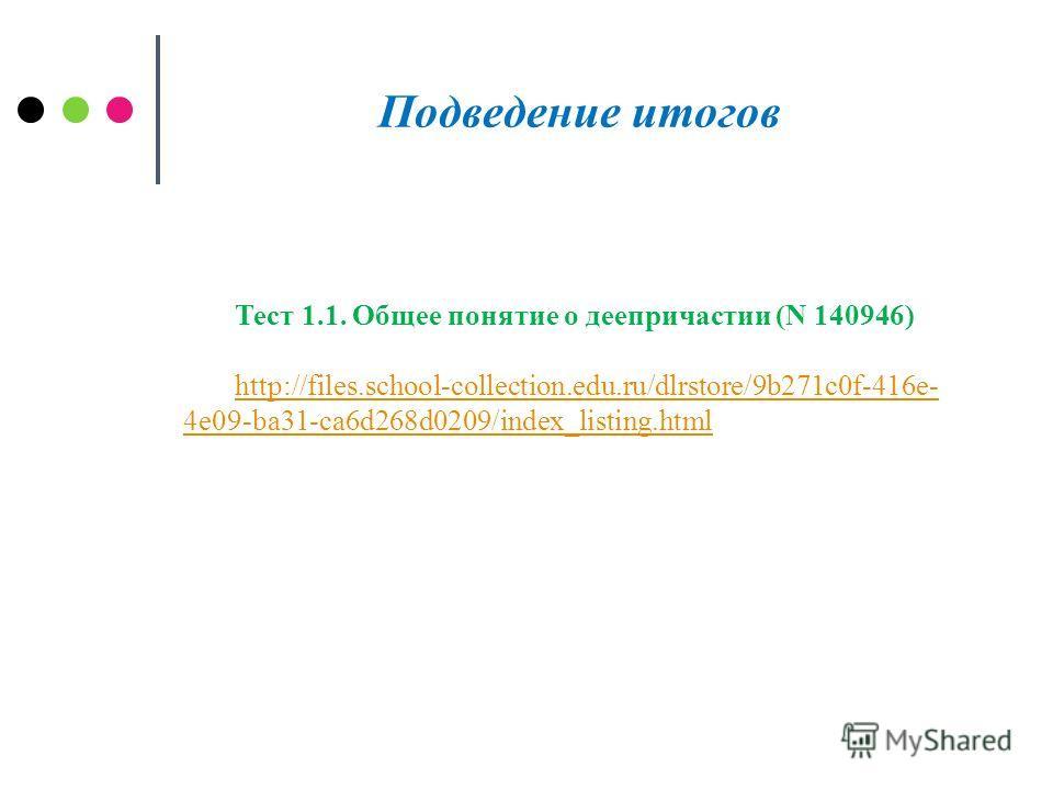 Подведение итогов Тест 1.1. Общее понятие о деепричастии (N 140946) http://files.school-collection.edu.ru/dlrstore/9b271c0f-416e- 4e09-ba31-ca6d268d0209/index_listing.html
