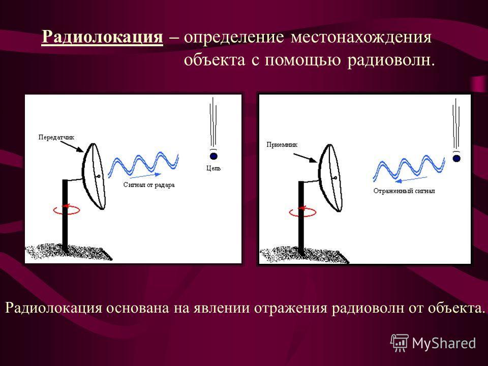 Радиолокация – определение местонахождения объекта с помощью радиоволн. Радиолокация основана на явлении отражения радиоволн от объекта.