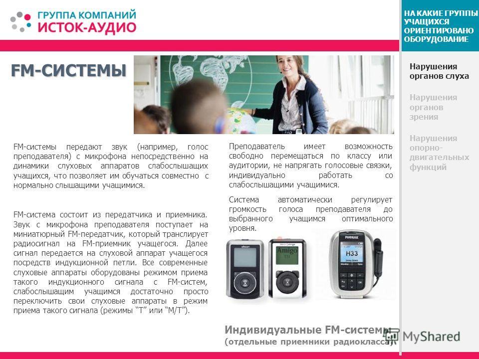 FM-СИСТЕМЫ Нарушения органов слуха Нарушения органов зрения Нарушения опорно- двигательных функций НА КАКИЕ ГРУППЫ УЧАЩИХСЯ ОРИЕНТИРОВАНО ОБОРУДОВАНИЕ FM-системы передают звук (например, голос преподавателя) с микрофона непосредственно на динамики сл